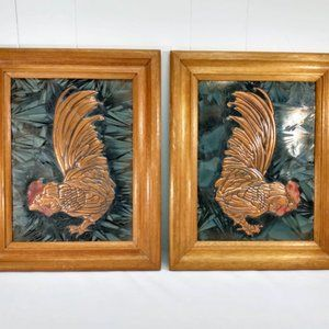 Pair Vintage Brass Stamped Rooster Cock Framed Art